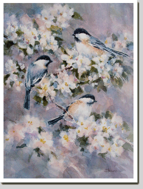 """Chickadees and Apple Blossoms"""